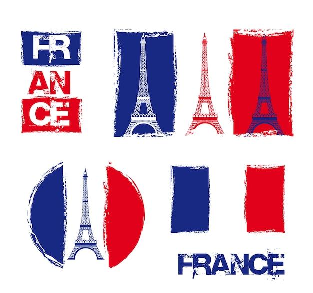Francja projekt nad białym tłem, wektorowa ilustracja