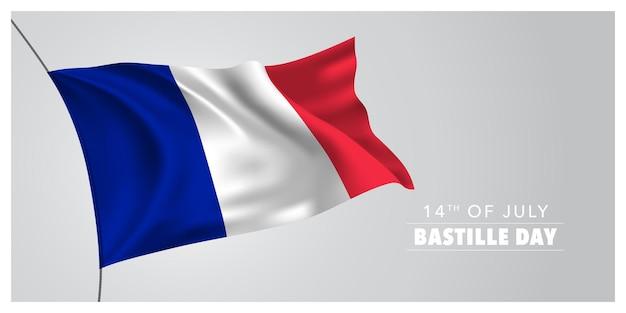 Francja szczęśliwy sztandar dnia bastylii. francuskie święto 14 lipca projekt z powiewającą flagą jako symbolem niepodległości