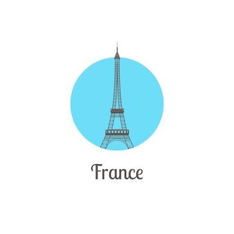 Francja wieża punkt orientacyjny na białym tle okrągły ikona