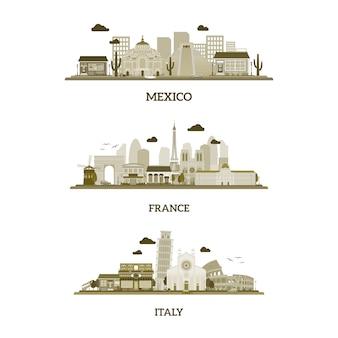 Francja, włochy i meksyk vintage skyline