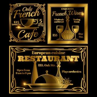 Francuska i europejska kawiarnia, szablon etykiety restauracji