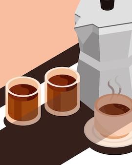 Francuska prasa i filiżanki do parzenia kawy izometryczny ikona ilustracja projekt