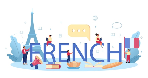 Francuski nagłówek typograficzny w płaskiej konstrukcji