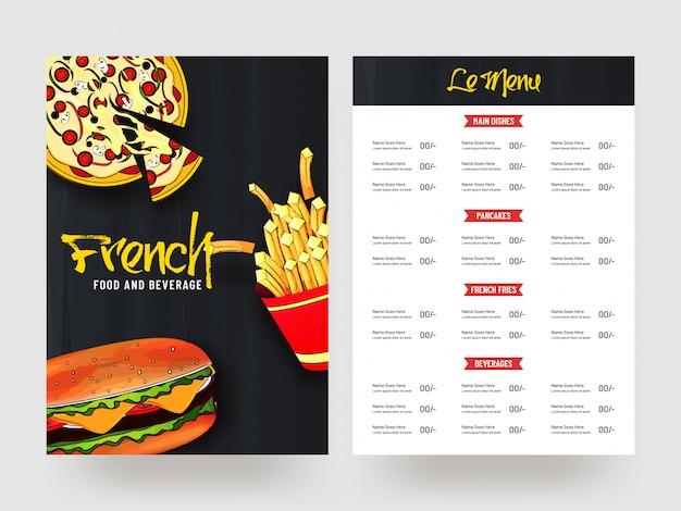 Francuski projekt karty menu z jedzeniem i napojami.
