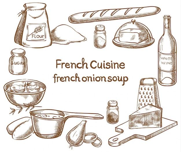 Francuski projekt receptury zupy cebulowej