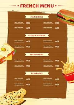Francuski szablon karty menu lub projekt ulotki.