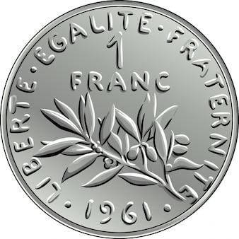 Francuskie pieniądze moneta jeden awers franka