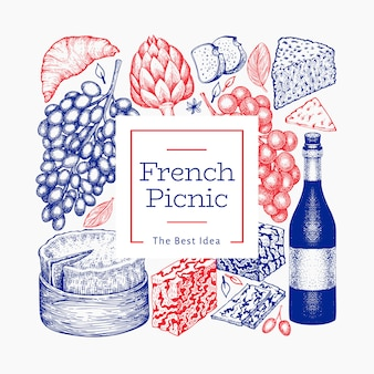 Francuskiego jedzenia ilustracyjny projekta szablon. ręcznie rysowane ilustracje piknikowe. grawerowany styl różnych banner przekąsek i wina. tło vintage żywności.