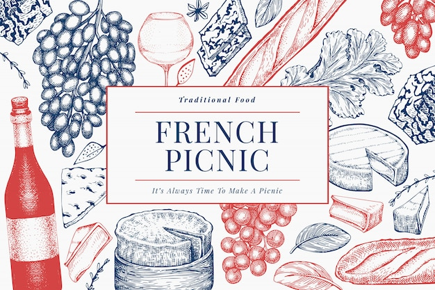 Francuskiego jedzenia ilustracyjny projekta szablon. ręcznie rysowane ilustracje piknikowe. grawerowany styl różnych banner przekąsek i wina.