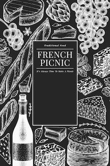 Francuskiego jedzenia ilustracyjny projekta szablon. ręcznie rysowane piknikowe ilustracje posiłku na tablicy kredą. grawerowany styl różnych banner przekąsek i wina. tło vintage żywności.