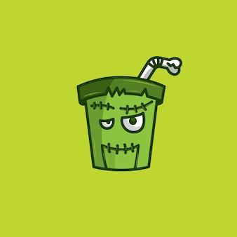 Frankenstain drink halloween logo vector