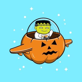 Frankenstein jazda statek kosmiczny kreskówka wektor ilustracja. płaski styl kreskówki premium wektorów
