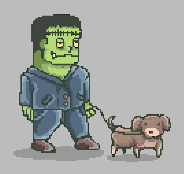 Frankenstein pixel art monster retro