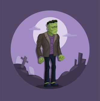 Frankenstein potwór miejski legenda rysunek ilustracja kreskówka wektor