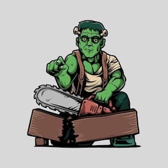 Frankenstein trzyma ilustrację kreskówki piły łańcuchowej
