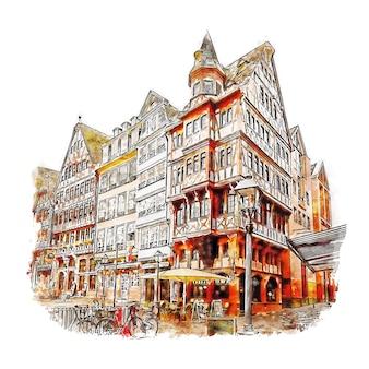 Frankfurt, niemcy szkic akwarela ręcznie rysowane ilustracja