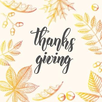 Fraza kaligrafii napis dziękczynienia. jesień tło z liśćmi