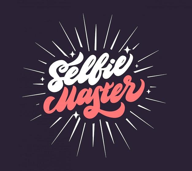 Fraza mistrzowska selfie. samo zdjęcie mówi, młodzież napis hasło na białym tle