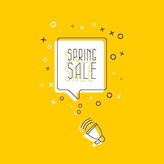 """Fraza """"wiosenna wyprzedaż"""" w białym dymku i megafon na żółtym tle. płaska cienka linia. nowoczesny baner i plakat biznes, marketing, szablon koncepcji reklamy."""