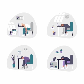 Freelance, biznesowi mężczyzna i kobiety pracuje od domu - ministerstwa spraw wewnętrznych pojęcia ilustracja. mężczyźni i kobiety są zmęczeni, znudzeni i zasypiają przy biurku z laptopem.
