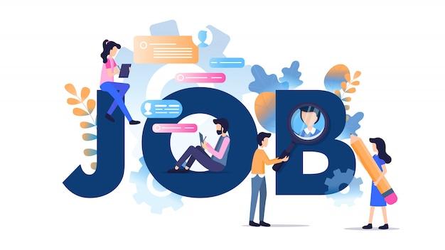 Freelance character modern job typography banner