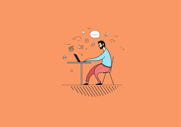 Freelance człowiek pracuje na biurku z laptopa. ilustracja wektorowa.