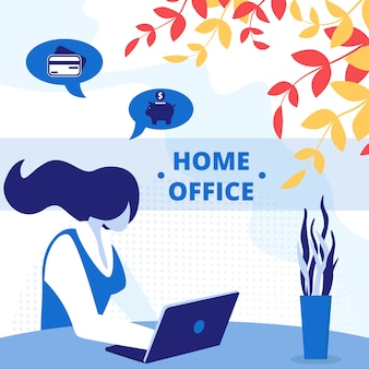 Freelance home office workplace square banner.