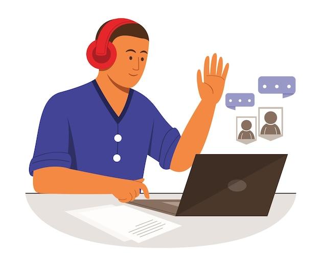 Freelanceman rozmawia z laptopem i słucha przez słuchawki