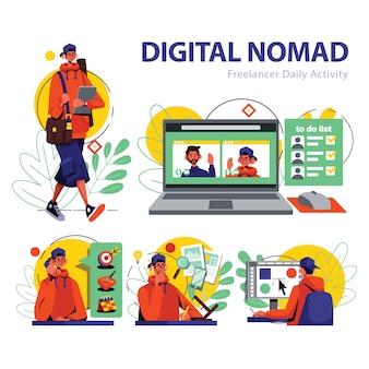 Freelancer daily activity illustration