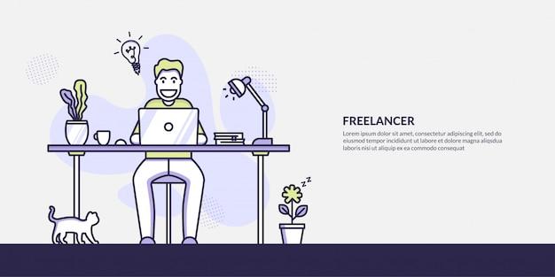 Freelancer facet pracuje na laptopie koncepcji