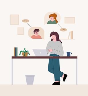 Freelancer kobieta. spotkanie wideo. telepraca w domu.