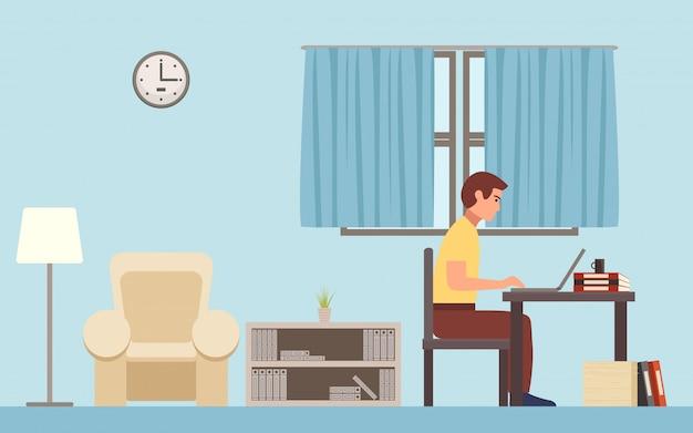 Freelancer mężczyzna pracuje na komputerze w domu w płaskim ikona projekta tle