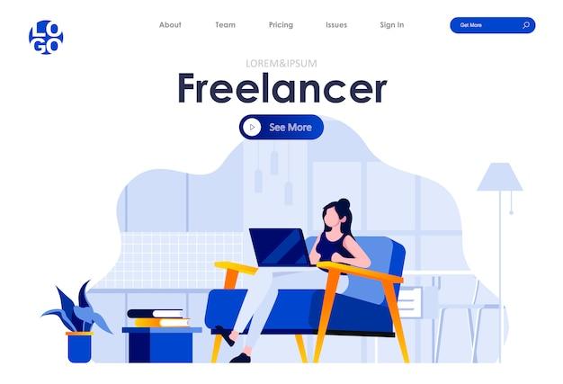 Freelancer płaski szablon strony docelowej projektowania stron internetowych
