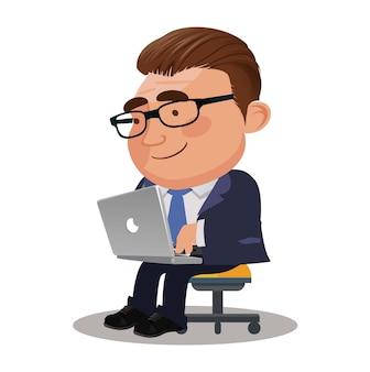 Freelancer pracujący zdalnie ze swojego laptopa