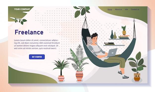 Freelancer pracuje od domu, mężczyzna w hamaku z laptopem, wektorowa ilustracja