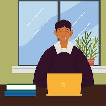 Freelancer pracuje w domu z laptopem