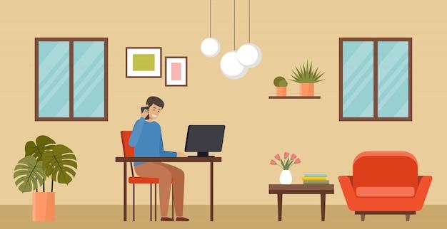 Freelancer pracuje w domu.