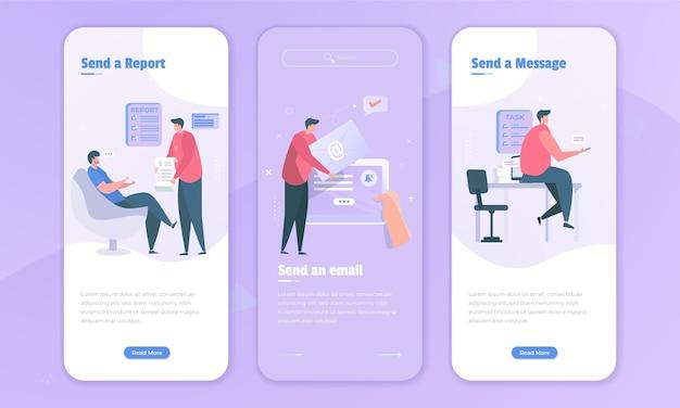 Freelancer z ilustracją wysyłania raportu e-mail i wiadomości na ekranie pokładowym