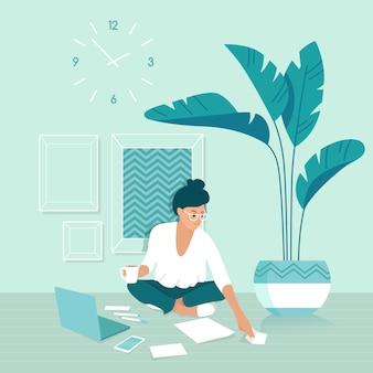 Freelancerka pracująca w domu