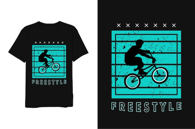 Freestyle, siluet man with bicycle, napis niebieski minimalistyczny nowoczesny prosty styl