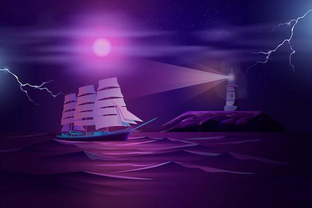 Fregata żegluje w sztormowej ocean kreskówce