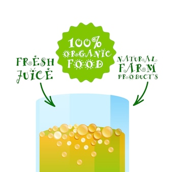 Fresh juice organic cocktail logo natural farm products label