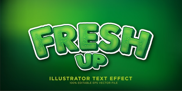 Fresh up green text effect style design effect