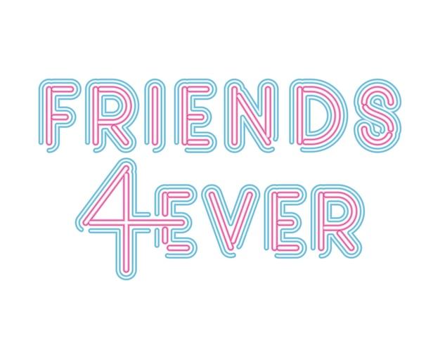 Friends 4ever napis w neonowej czcionce w różowo-niebieskim kolorze ilustracji