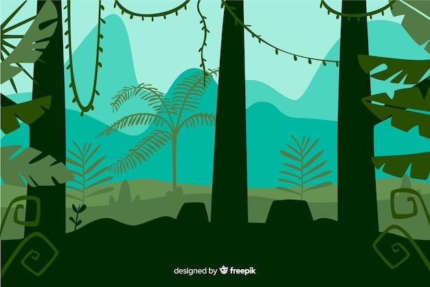 Frontowy widok tropikalny lasowych drzew krajobraz