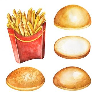 Frytki. fasta food posiłek na akwareli ilustraci.