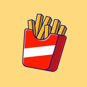 Frytki ikona ilustracja kreskówka. koncepcja ikona fast food na białym tle. płaski styl kreskówki