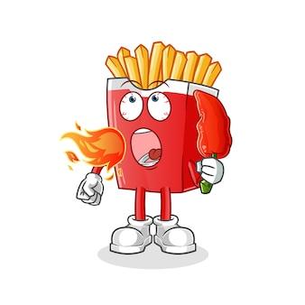 Frytki jedzą maskotkę gorącej chilli na białym tle