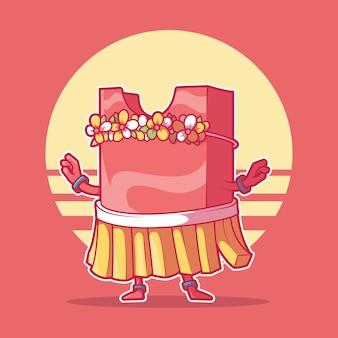 Frytki pakiet znaków taniec hula ilustracji wektorowych zabawna koncepcja projektowania party żywności