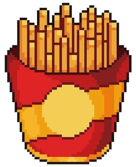 Frytki pixel art. ikona gry bitowej